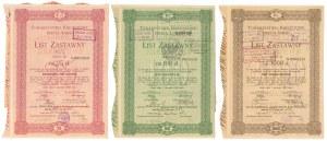 Łódź, TKM, Listy zastawne 1925 - zestaw (3szt)