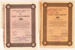 Łódź, TKM, Listy zastawne 1938 - zestaw (2szt)