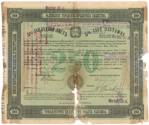 Radom, TKM, List zastawny 250 rubli 1905