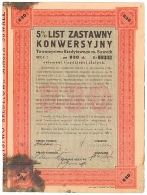 Suwałki, TKM, List zastawny, konwersyjny 830 zł 1934