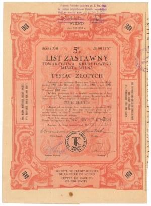 Wilno, TKM, List zastawny 1.000 zł 1933