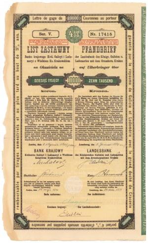 Lwów, Bank krajowy, List zastawny 10.000 koron 1921