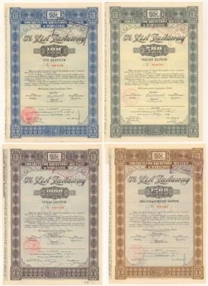Warszawa, TKM, Listy zastawne 1936 - zestaw (4szt)