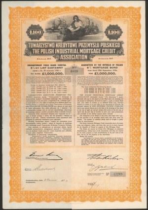 Tow. Kredytowe Przemysłu Polskiego, List zastawny, 100 funtów 1928