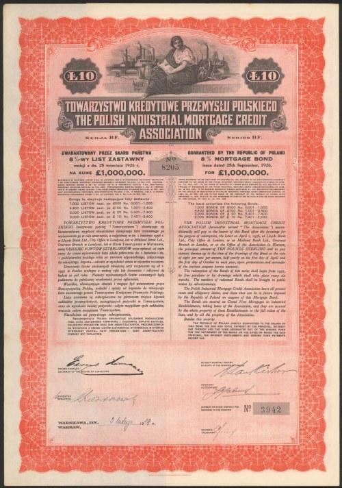 Tow. Kredytowe Przemysłu Polskiego, List zastawny, 10 funtów 1928
