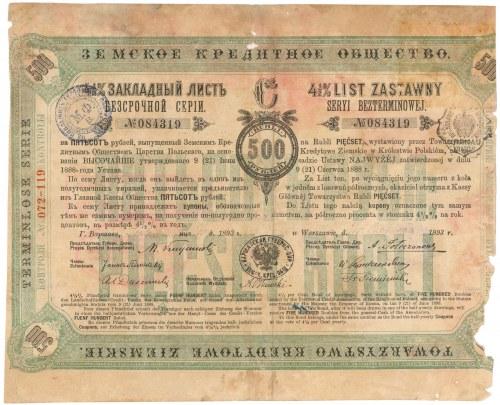 Warszawa, TKZ, List zastawny 500 rubli 1893