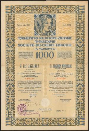 Warszawa, TKZ, List zastawny 1.000 franków 1929