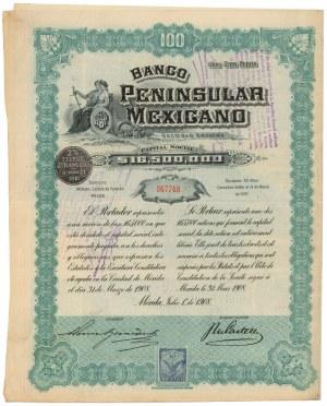 Meksyk, Banco Peninsular Mexicano, Merida, 100 pesos 1908