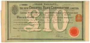 Wielka Brytania, The New Oriental Bank Corporation, 10 pounds 1885