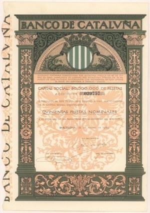 Hiszpania, Barcelona Banco de Catalvna, 500 pesetas 1929