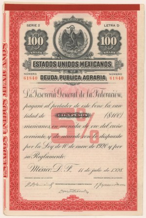 Meksyk, Estados Unidos Mexicanos Deuda Publica Agraria, $100 1928