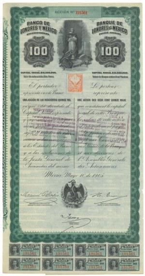 Meksyk, Banco de Londres y Mexico, $100 1905