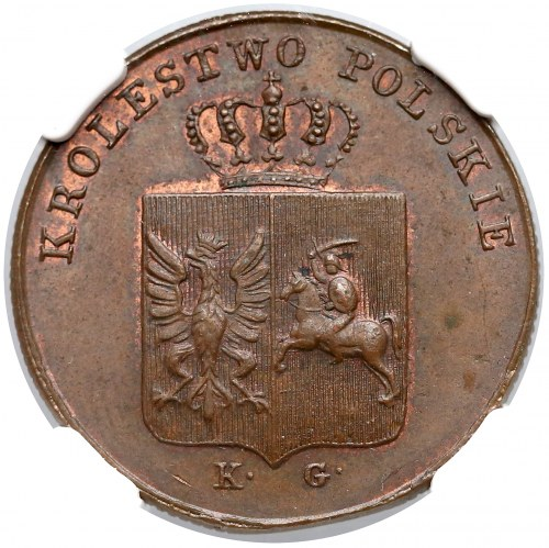 Powstanie Listopadowe, 3 grosze 1831 KG - łapy zgięte - RZADKOŚĆ - NGC MS63 BN