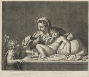Etienne PICART (1632-1721), według: Annibale CARACCI (1560-1609), Madonna z Dzieciątkiem i Janem Chrzcicielem