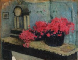 Alfons KARPIŃSKI (1875-1961), Martwa natura z kwiatami i zegarem, 1923