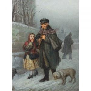 Julian Bończa Tomaszewski (1834 Petersburg - 1920 Nicea), Żebrak-klarnecista z dziewczynką i psem, 1868