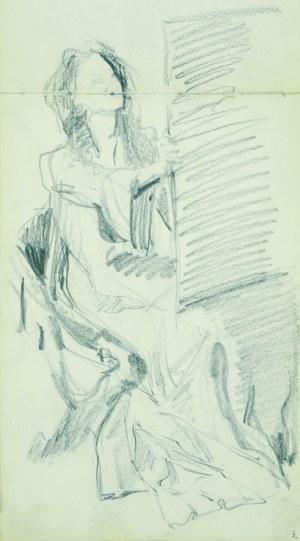 Włodzimierz TETMAJER (1861 - 1923), Kobieta siedząca przy sztaludze - szkic, [1907]
