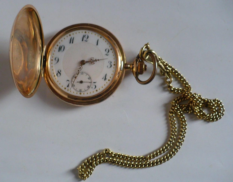 Zegarek Zloty Kieszonkowy Kryty Meski Z Dewizka