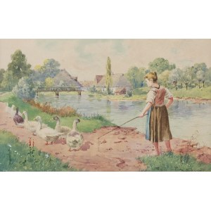 Seweryn BIESZCZAD (1852-1923), Pejzaż z gęsiarką