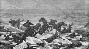 Juliusz KOSSAK (1824-1899), Katastrofa podczas przeprawy przez Niemien do Malinek – do narzeczonej Pana Mohorta