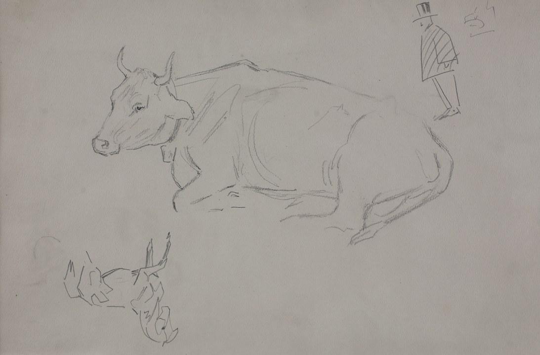 Karol KOSSAK (1896-1975), Szkice leżącej krowy, konia, rysunek satyryczny mężczyzny w cylindrze, [1922]