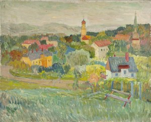 Henryk KRYCH (1905-1980), Pejzaż podgórski z miasteczkiem w dali, [lata 60]