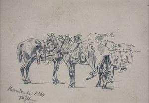 Tadeusz RYBKOWSKI (1848-1926), Konie przy wozie, [1884]
