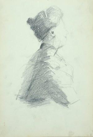 Włodzimierz TETMAJER (1861 – 1923), Popiersie kobiety ujęte z prawego profilu – szkic, [1907]