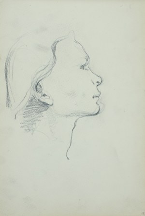 Włodzimierz TETMAJER (1861 – 1923), Szkic głowy młodej kobiety z prawego profilu, [ok. 1900]