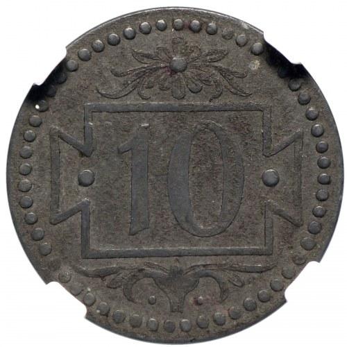 Wolne Miasto Gdańsk, 10 fenigów 1920 56 perełek NGC AU