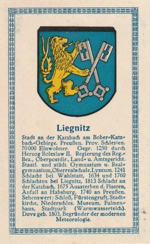 LEGNICA. Herb Legnicy, poniżej krótki tekst dotyczący miasta; nakle ...