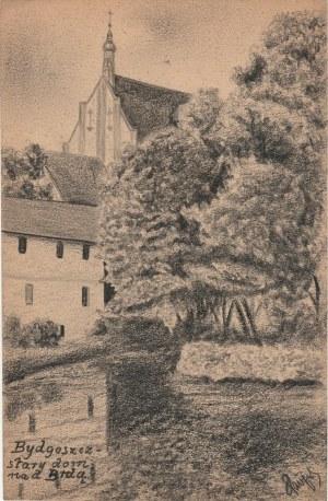 BYDGOSZCZ. Widok na stary dom, rys. ołówkiem autorstwa M. Paszyński ...
