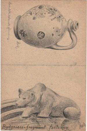 BYDGOSZCZ. Widok na fragment fontanny,rys. ołówkiem autorstwa M. Pas ...