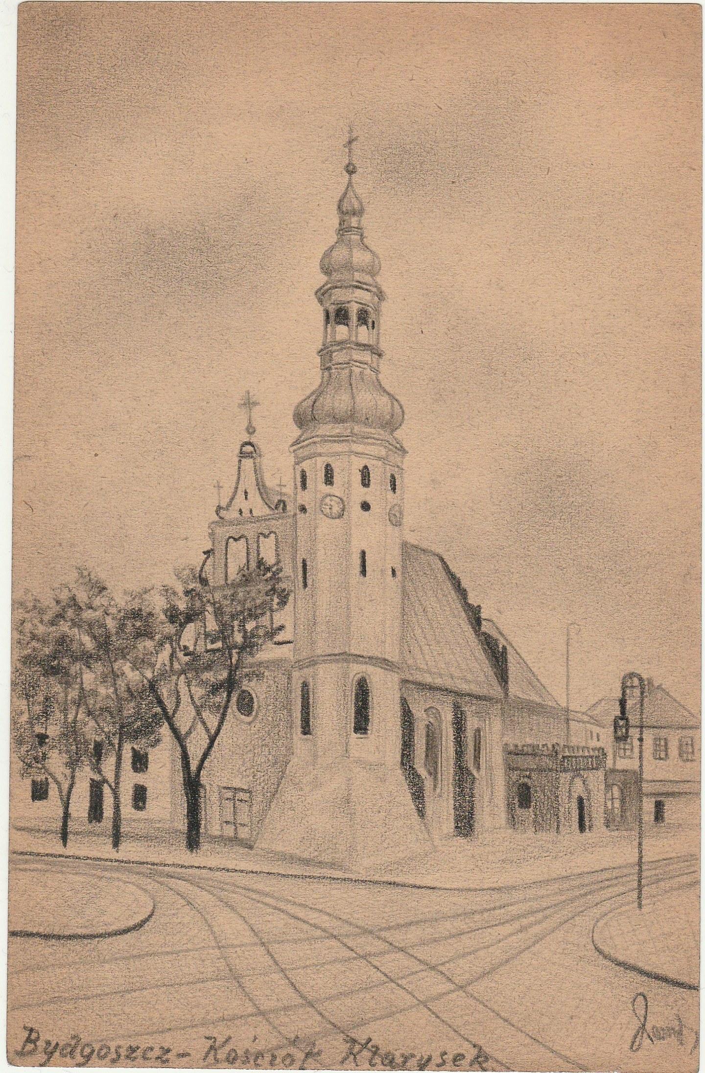 BYDGOSZCZ. Widok na Kościół Klarysek, rys. ołówkiem autorstwa M.  ...