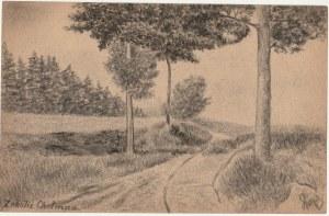 CHEŁMNO. Widok okolic Chełmna, rys. ołówkiem autorstwa M. Paszyńs ...