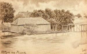 GOŁKÓWKO. Widok młynu na Pissie (lewy dopływ Brynicy), rys. ołów ...