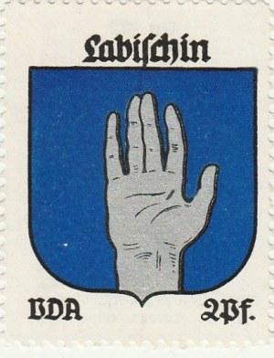 ŁABISZYN. Naklejka z herbem Łabiszyna (otwarta dłoń), seria poświ ...