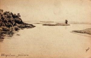 MOGILNO. Widok na Jezioro Mogileńskie, rys. ołówkiem autorstwa M. P ...