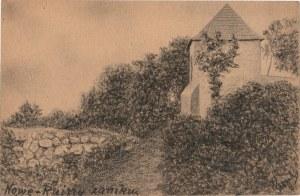 NOWE N. WISŁĄ. Widok na ruiny zamku, rys. ołówkiem autorstwa M. Pa ...