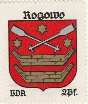 ROGOWO. Naklejka z herbem Rogowa (w polu czerwonym dwie łodzie, nad n ...