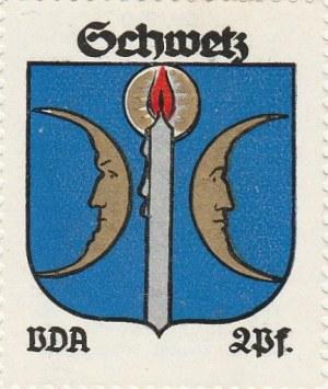ŚWIECIE. Naklejka z herbem Świecia (dwa półksiężyce oddzielone o ...