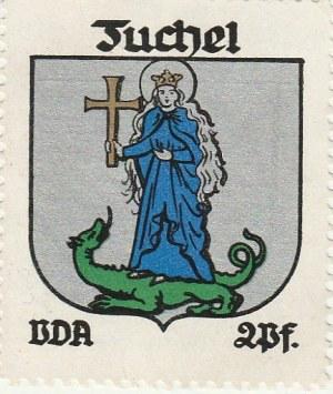 TUCHOLA. Naklejka z dawnym herbem Tucholi (święta Małgorzata z krzy ...