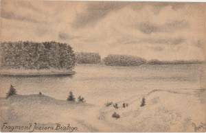 OKUNINKA. Widok na Jezioro Białe, rys. ołówkiem autorstwa M. Paszy