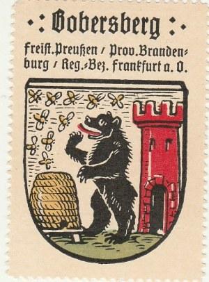 BOBROWICE. Naklejka z herbem Bobrowic, kolor, st. bdb, wymiary: ok. 40 ...