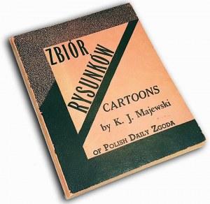 MAJEWSKI- ZBIÓR RYSUNKÓW: CARTOONS OF POLISH DAILY ZGODA Chicago 1947 Hitler, nazizm, faszyzm AUTOGRAF