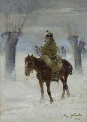 Kossak Jerzy, KIRASJER W ODWROCIE SPOD MOSKWY, 1936