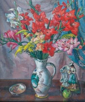 Ignacy PIEŃKOWSKI (1877-1948), Martwa natura z kwiatami i porcelanową figurką