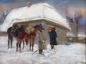 Jerzy KOSSAK (1886-1955), Epizod z wojen napoleońskich, 1934