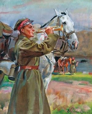 Wojciech KOSSAK (1856-1942), Trębacz z koniem, 1934