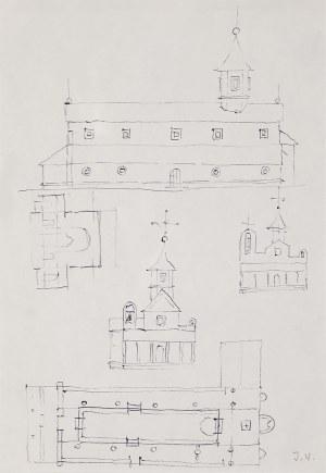 Jerzy Nowosielski (1923-2011), bez tytułu (cerkiew/szkic), 1990